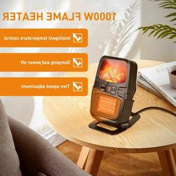 1000W Electric Space Heater Fireplace Flame Timer Air Warmer
