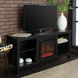 Wood TV Stand Electric Fireplace Entertainment Center Unit B